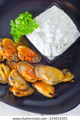 mussels with white sauce