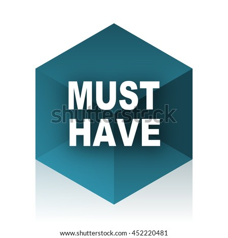 must have blue cube icon, modern design web element - stock photo