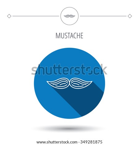 Mustache icon. Hipster symbol. Gentleman sign. Blue flat circle button. Linear icon with shadow.  - stock photo