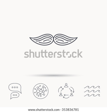 Mustache icon. Hipster symbol. Gentleman sign. Global connect network, ocean wave and chat dialog icons. Teamwork symbol. - stock photo