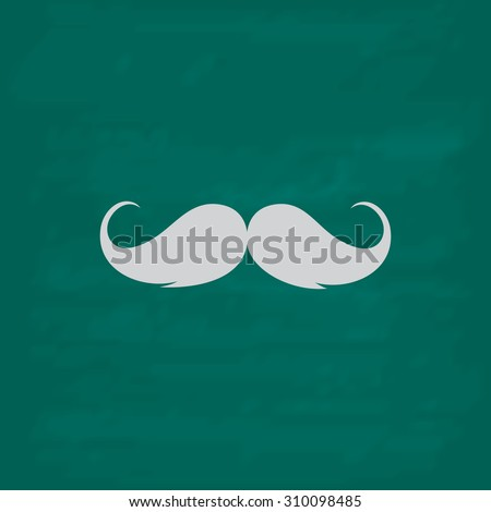 Mustache.  Icon. Imitation draw with white chalk on green chalkboard. Flat Pictogram and School board background. Illustration symbol - stock photo