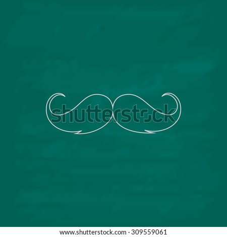 Mustache. Outline icon. Imitation draw with white chalk on green chalkboard. Flat Pictogram and School board background. Illustration symbol - stock photo