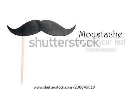 mustache paper on a stick isolated on white background - stock photo