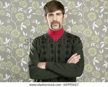 mustache retro salesperson man geek portrait wallpaper - stock photo