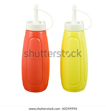 Mustard and ketchup bottles isolated on white background in square format