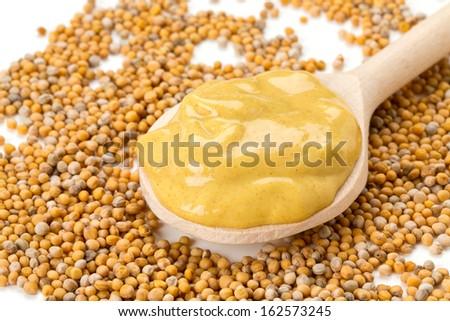 mustard and mustard seeds - stock photo