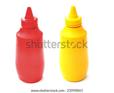 Mustard and tomato ketchup