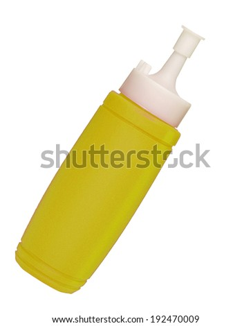 Mustard  bottle isolated on a white background - stock photo