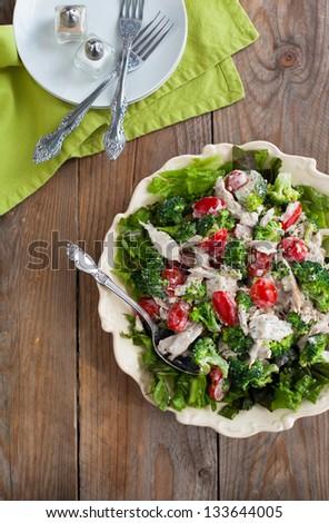 Mustard chicken salad - stock photo