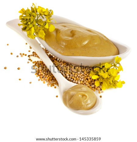 Mustard dish sauce , seeds and mustard flower isolated on white background - stock photo