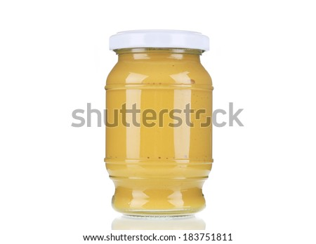 Mustard glass bottle. Isolated on a white background. - stock photo