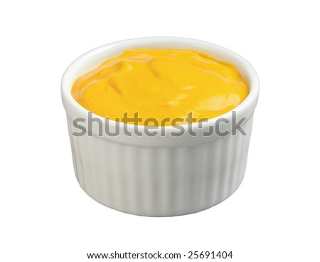 Mustard in a Ramekin isolated with a clipping path - stock photo
