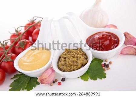 mustard,ketchup and pesto sauce - stock photo
