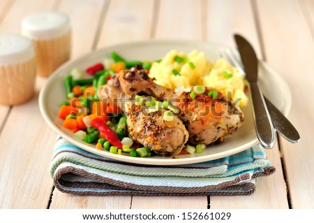 Mustard, lemon and rosemary roast chicken with mashed potatoes and vegetable mix