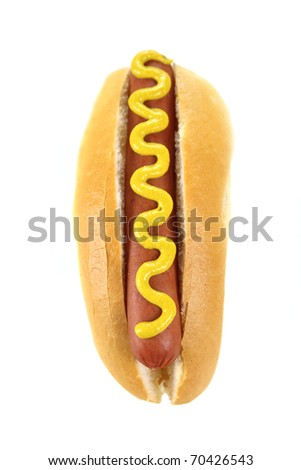 Mustard on a hot dog and bread roll on a white background.