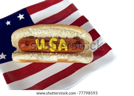 mustard on patriotic hot dog