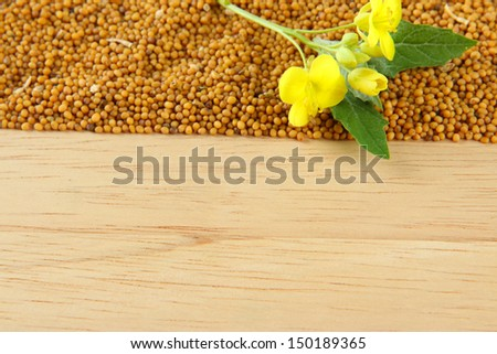 Mustard seeds and mustard flower on wooden background - stock photo