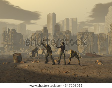 Mutants in a post apocalyptic landscape - stock photo