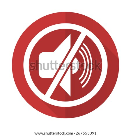 mute red flat icon silence sign  - stock photo