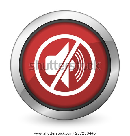mute red icon silence sign  - stock photo