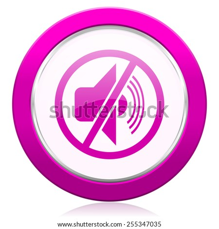 mute violet icon silence sign  - stock photo
