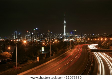 Mution Blur of car lights during evening traffic - stock photo