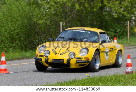 MUTSCHELLEN, SWITZERLAND-APRIL 29: Vintage race touring car Alpine Renault A 110 from 1972 at Grand Prix in Mutschellen, SUI on April 29, 2012.  Invited were vintage sports cars and motorbikes.