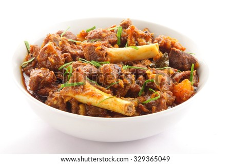Mutton fry topped with herbs, - stock photo