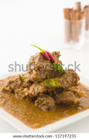 mutton korma a type of curry cooked in traditional indian style with backgrounds - stock photo