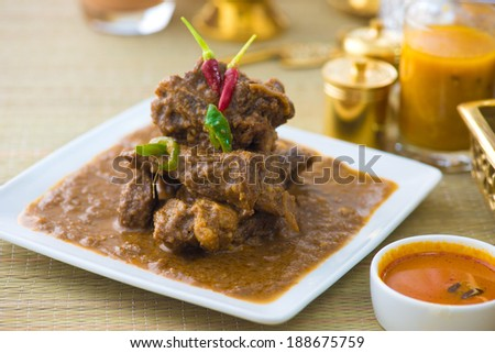 mutton rogan josh, mutton curry, indian cuisine  - stock photo