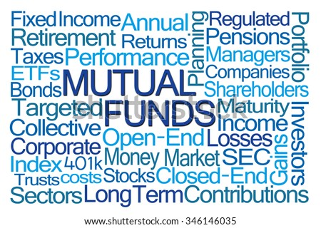 Mutual Funds Word Cloud on White Background - stock photo