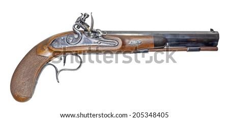 "Muzzleloading blackpowder gun on white background. It is a ""Manton"". - stock photo"