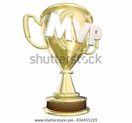 MVP Most Valuable Player Gold Trophy Award 3d Illustration - stock photo