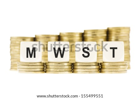 MWST (German Value Added Tax) on Gold Coins Isolated on White - stock photo