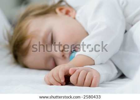 My baby sleep Soft focus on hands