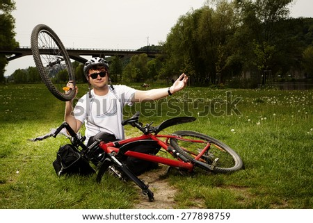 My bicycle is broken - stock photo