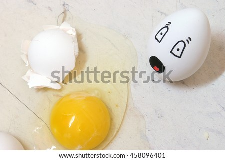 My egghead friend is lying dead in his own yolk on the floor.