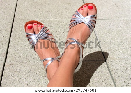 My favorite silver dancing shoes with high heels - stock photo