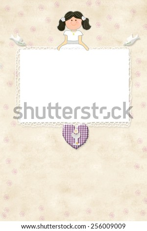 My First Communion invitation card brown girl with empty frame to put a photo and space for writing - stock photo