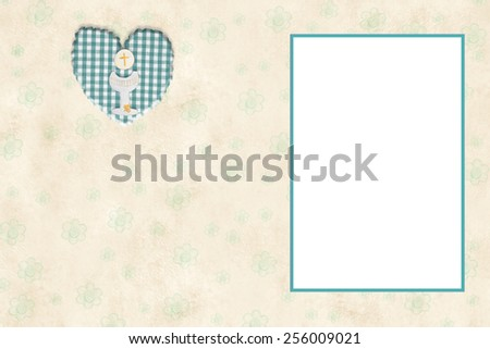 My First Communion invitation card  with empty frame to put a photo and space for writing - stock photo