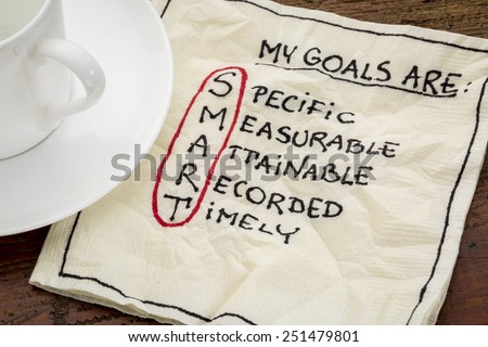 my goals are smart - goal setting concept - handwritten text on a napkin with coffee - stock photo