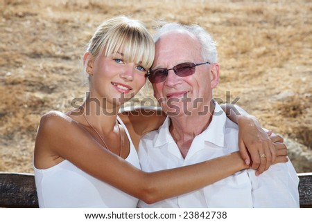 my grandpa and I - family lifestyle portrait - stock photo