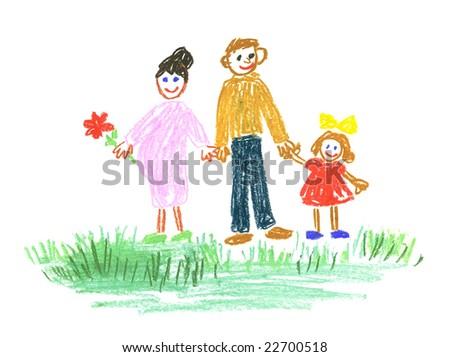 my large happy family on the walk - stock photo