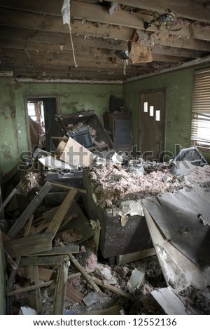 My living room when we first returned after the water had been pumped out of New Orleans. - stock photo