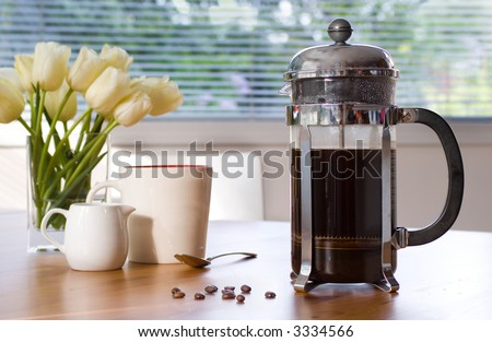 my morning cup of coffee - stock photo