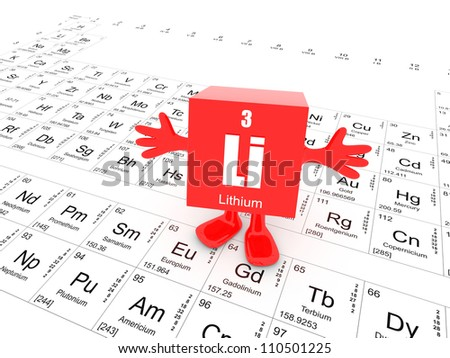 My name is Lithium and this is the Periodic Table - stock photo