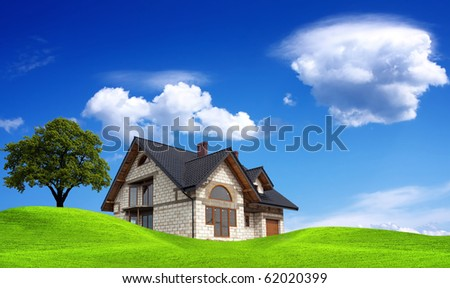 My new sunny house - stock photo