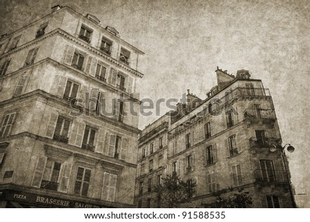 My old Montmartre. Postcard from Paris. More of my photos worked together to reflect age and time. Monochrome image. - stock photo