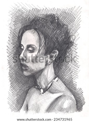 My own pencil drawing of young beautiful sexy lady, fantasy girl model. A Woman pastel Portrait