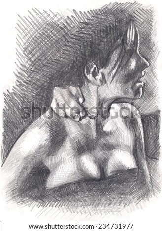 My Own Pencil Drawing Young Beautiful Stock Illustration 234731977